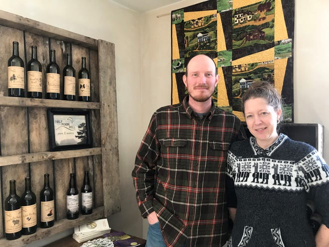Gerrid and Sadie Franke own Half Moon Hill Farm & Winery in Hamburg. They run a winery out of the basement below their house on the farm.