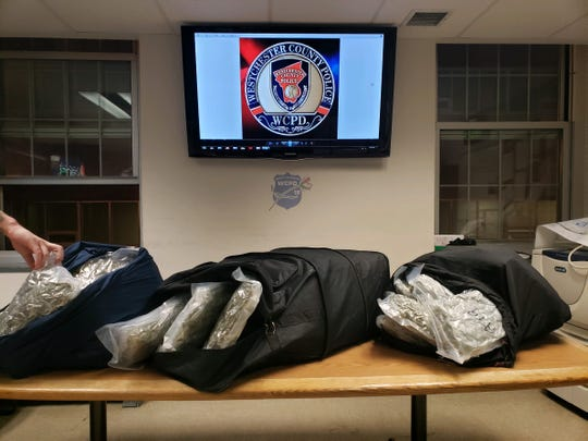 Westchester County police confiscated 54 pounds of weed in two laundry bags after arresting a man during a traffic stop in New Rochelle on April 24, 2019.