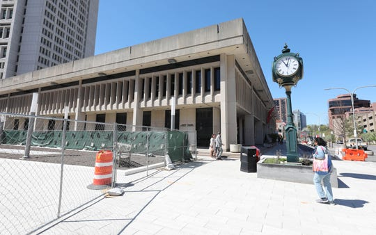 The front exterior of the White Plains Library is pictured as work continues on a multi-million dollar renovation of the White Plains Library Plaza, April 24, 2019.