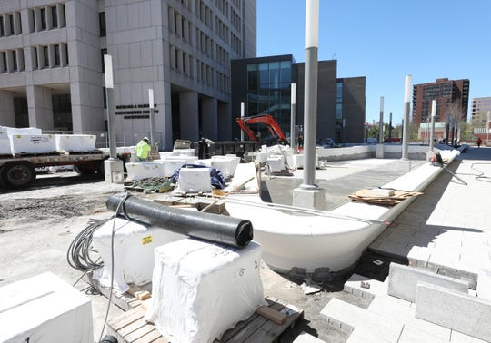 """Seat walls"" are pictured as work continues on a multi-million dollar renovation of the White Plains Library Plaza, April 24, 2019."
