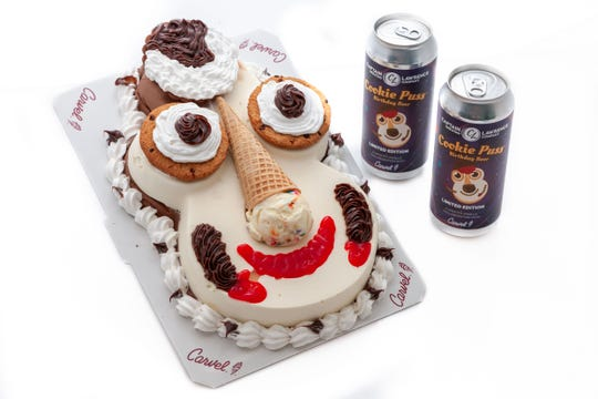 Captain Lawrence Cookie Puss beer and Cookie Puss Carvel ice cream cake.