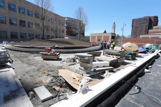 """""""Seat walls"""" are pictured as work continues on a multi-million dollar renovation of the White Plains Library Plaza, April 24, 2019."""