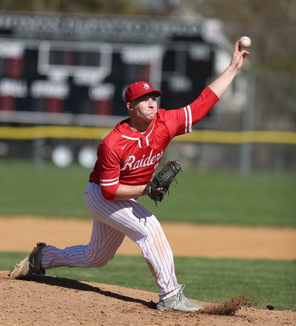 North Rockland pitcher Sean Liquori (7) delivers a pitch during their 4-0 win over Clarkstown South in baseball action at Clarkstown South High School in West Nyack on Wednesday, April 24, 2019.