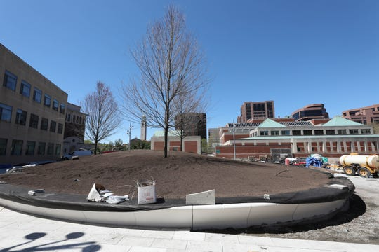 """The """"knoll"""" area is pictured as work continues on a multi-million dollar renovation of the White Plains Library Plaza, April 24, 2019."""