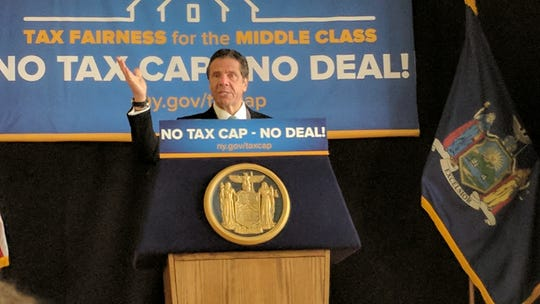 Gov. Andrew Cuomo was in Peekskill to promote his tax cap legislation.