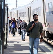 Passengers disembark at the Metro North train station in Nanuet April 24, 2019.