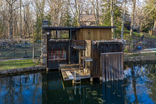 The boat house at the Bakwin estate. The home is on a 3-acre lake.
