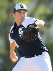 Salesianum's Alex Hinton throws in his complete game, 8-0 win at St. Mark's Wednesday.