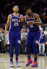 Sixers stars Ben Simmons, left, and Joel Embiid will be on hand for the team's open practice, which is free to the public (with tickets) at The 76ers Fieldhouse in Wilmington on Oct. 5.