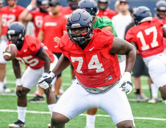FILE - In this Aug. 16, 2018, file photo, Mississippi offensive lineman Greg Little runs a play during NCAA college football practice in Oxford, Miss. Little is a possible pick in the 2019 NFL Draft. (Bruce Newman, Oxford Eagle via AP, File)