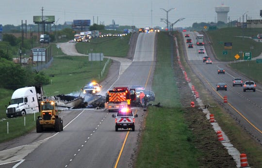 Several emergency agencies work the scene of a major accident, Wednesday morning, on U.S 287 in Wichita Falls, April 24, 2019.