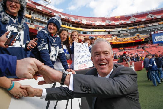"FILE - In this Oct. 21, 2018, file photo, Stephen Jones, Dallas Cowboys executive vice president of personnel, greets fans before an NFL football game against the Washington Redskins in Landover, Md. Even after the two biggest offseason moves for owner/general manager Jerry Jones and company, defensive line remains a high priority in the draft. ""We think it's probably the deepest position in this draft,"" said executive vice president of personnel Stephen Jones, Jerry's oldest son. ""We think it's deeper than it's been in many years.""  (AP Photo/Alex Brandon, File)"