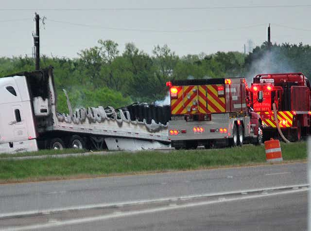 Two dead in fiery crash on U S  287