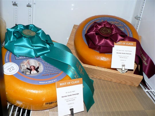 Champion cheeses up close. These are Marieka Gouda from Holland Cheese at Thorp, first and second runners up.
