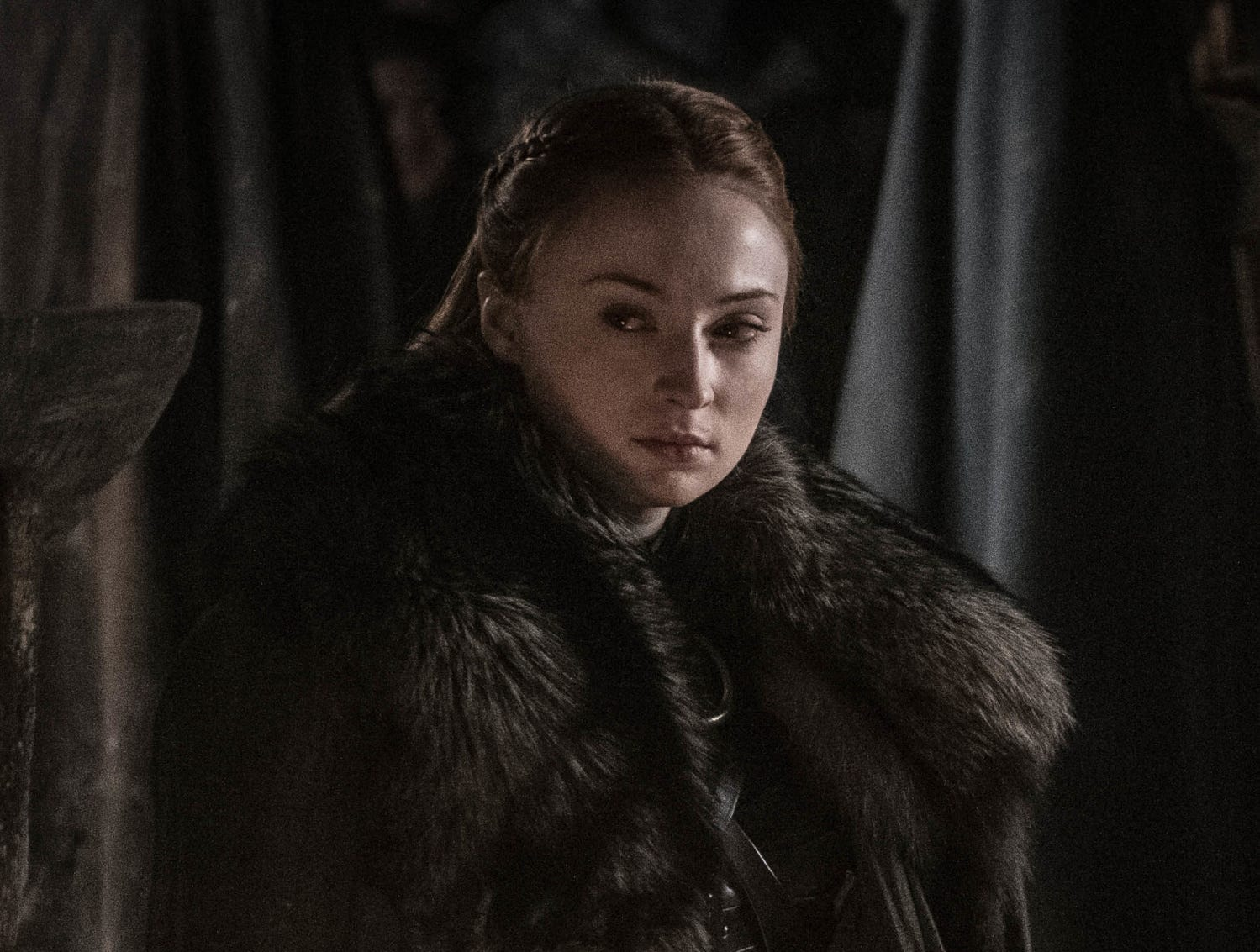 Sansa Stark looks authoritative but not particularly happy in this photo from the final seasons' third episode.