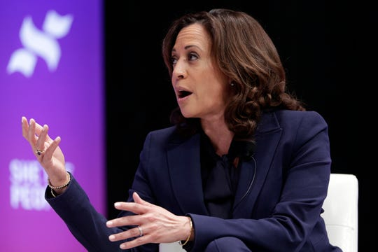 Democratic presidential candidate Sen. Kamala Harris, D-Calif., speaks during a presidential forum held by She The People on the Texas State University campus Wednesday, April 24, 2019, in Houston. (AP Photo/Michael Wyke)