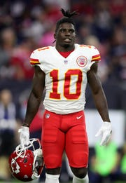 Kansas City Chiefs wide receiver Tyreek Hill (10) during the game against the Houston Texans at NRG Stadium.
