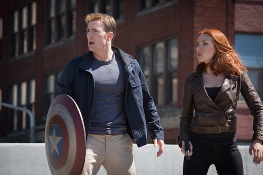 """Chris Evans and Scarlett Johansson in a scene from the """"Marvel's Captain America: The Winter Soldier."""""""