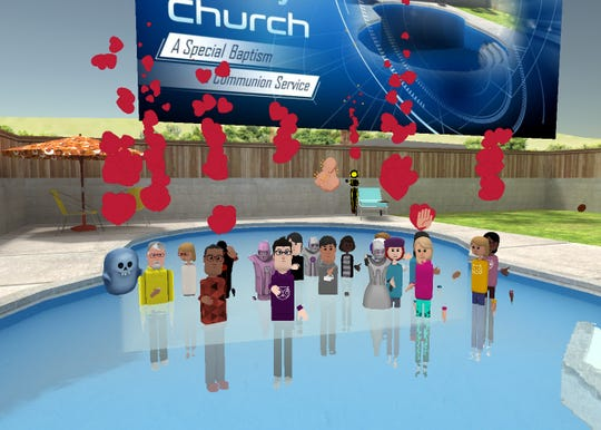 "Avatars attend ""special baptism"" at VR Church."