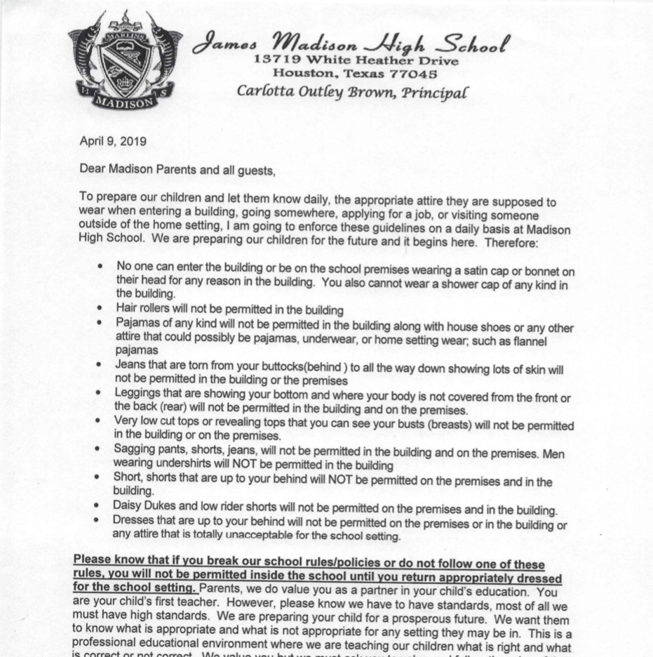 An April 9 letter from the principal of...