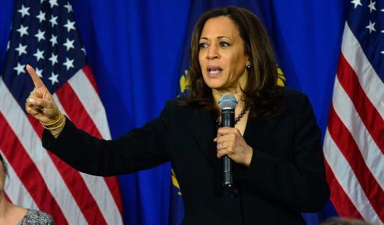 Democratic presidential candidate Sen. Kamala Harris, D-Calif., speaks at Keene State College in Keene, New Hampshire, April 23, 2019.