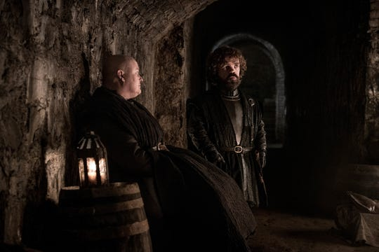 Varys (Conleth Hill), left, and Tyrion (Peter Dinklage) wait in the Winterfell crypt in Sunday's episode of 'Game of Thrones.'