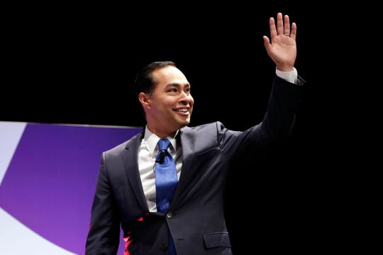 Democratic presidential candidate Julian Castro greets the audience before answering questions during a presidential forum held by She The People on the Texas State University campus Wednesday, April 24, 2019, in Houston. (AP Photo/Michael Wyke)