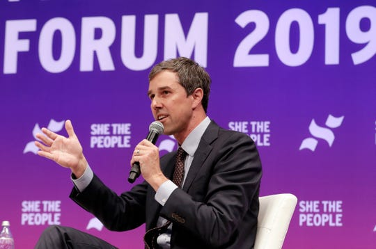 Former congressman and Democratic presidential candidate Beto O'Rourke answers questions during a presidential forum held by She The People on the Texas State University campus Wednesday, April 24, 2019, in Houston. (AP Photo/Michael Wyke)