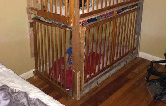 In this April 19, 2019, photo provided by the Modoc County Sheriff's Office, is where deputies found two boys in cages in a Tulelake, Calif., home. Authorities in Northern California say the parents of two boys found inside cages bolted to a bedroom wall have been arrested for child endangerment.