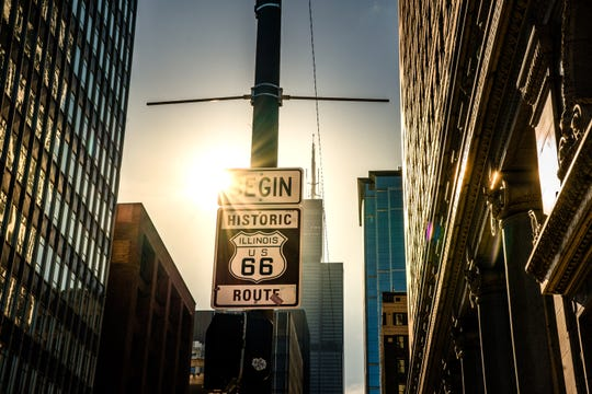 The start of Route 66 in Chicago.