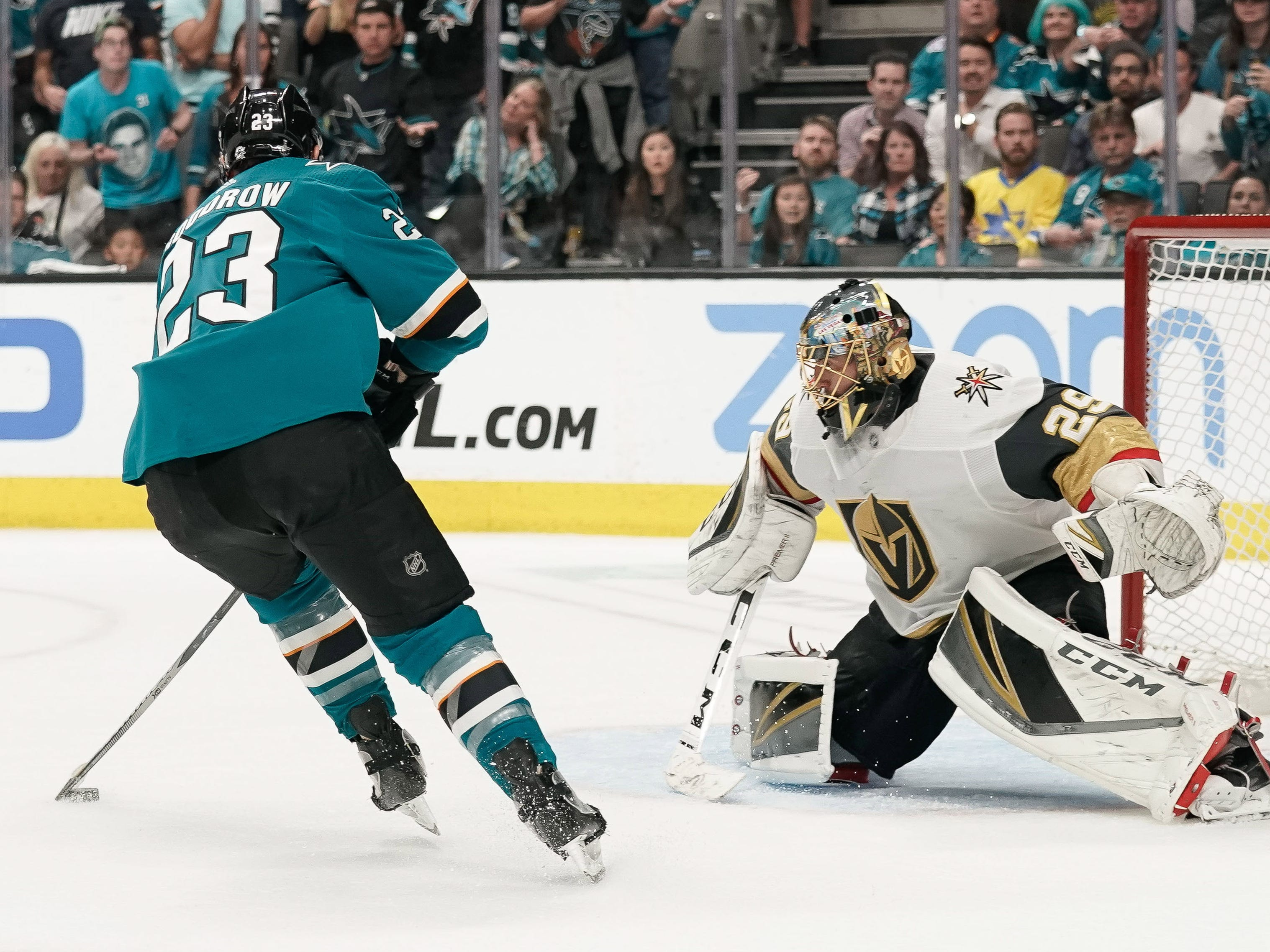 First round: Sharks right wing Barclay Goodrow gets ready to shoot the puck past Golden Knights goaltender Marc-Andre Fleury during overtime of Game 7.
