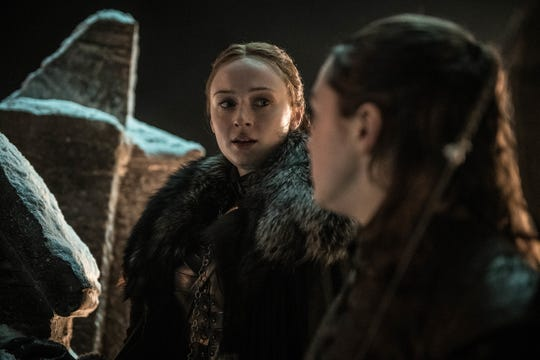Sansa Stark (Sophie Turner), left, exchanges a meaningful glance with her sister, Arya (Maisie Williams), in Season 8's third episode of 'Game of Thrones.'