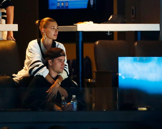 """""""I look at the people in my life. I look at the relationships I have. I look at, like, the things that are positive and try to remind myself of them,"""" said Bieber, seen here with husband Justin at an NHL playoff game on Tuesday. """"Like, I love my parents. I have great friends. I have an amazing husband."""