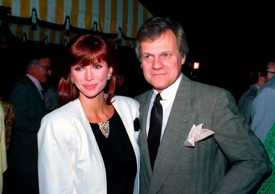 """FILE - This June 13, 1986 file photo shows actress Victoria Principal, and actor Ken Kercheval, co-stars of """"Dallas."""""""