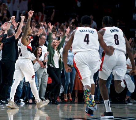 April 23: The Portland Trail Blazers' Damian Lillard reacts after making the game-winning shot at the buzzer against the Oklahoma City Thunder in Game 5.