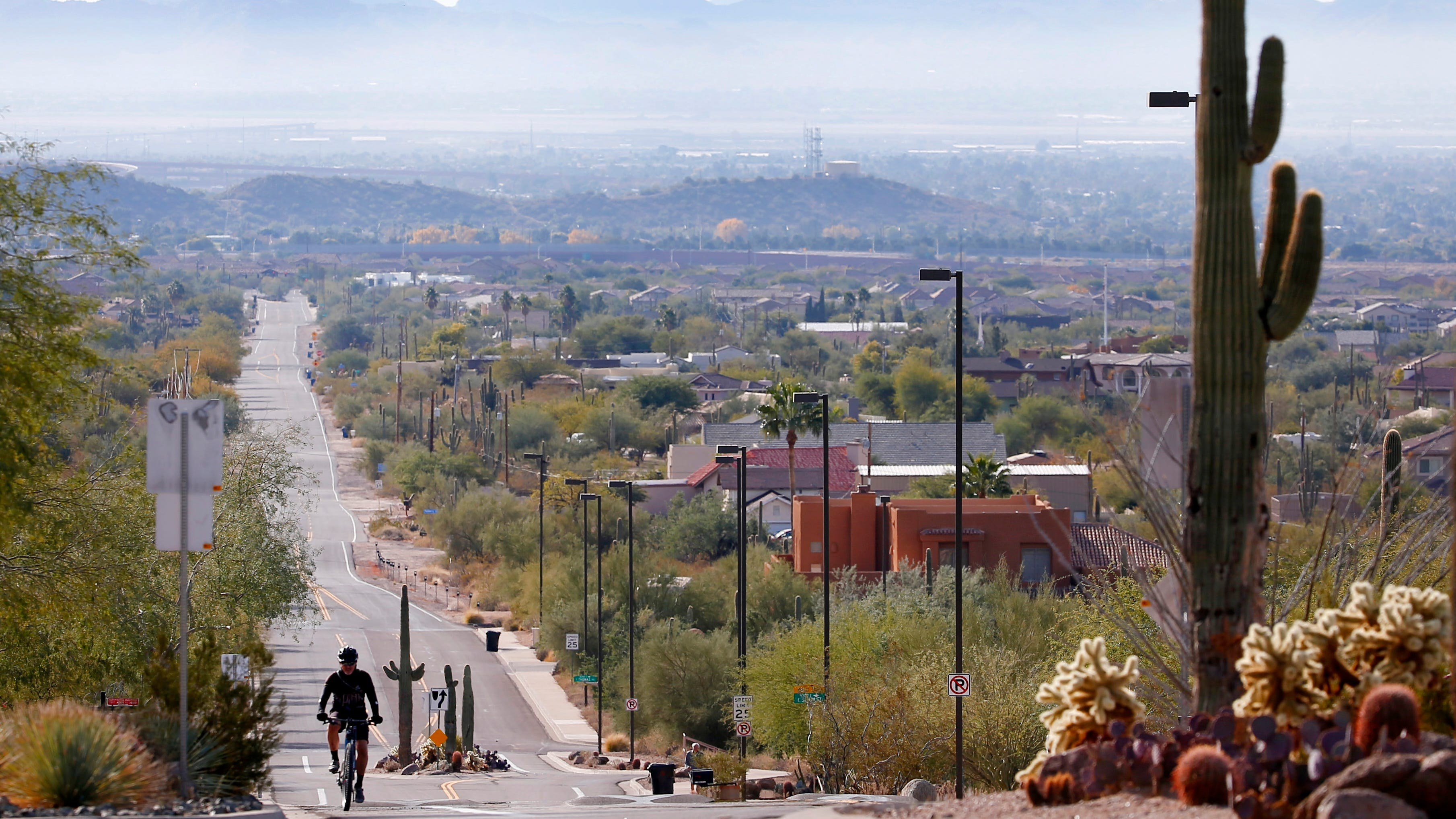 Smog can be seen lingering around the San Tan...