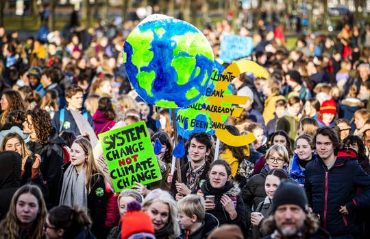 Dutch students protest for urgent measures to combat climate change in The Hague on Feb. 7, 2019.
