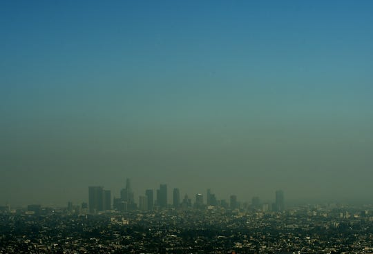 Los Angeles city skyline as heavy smog shrouds the city on May 31, 2015.