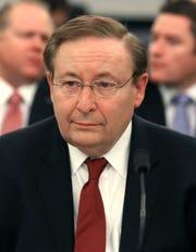 NOAA nominee Barry Myers testifies at his Senate hearing in 2017.