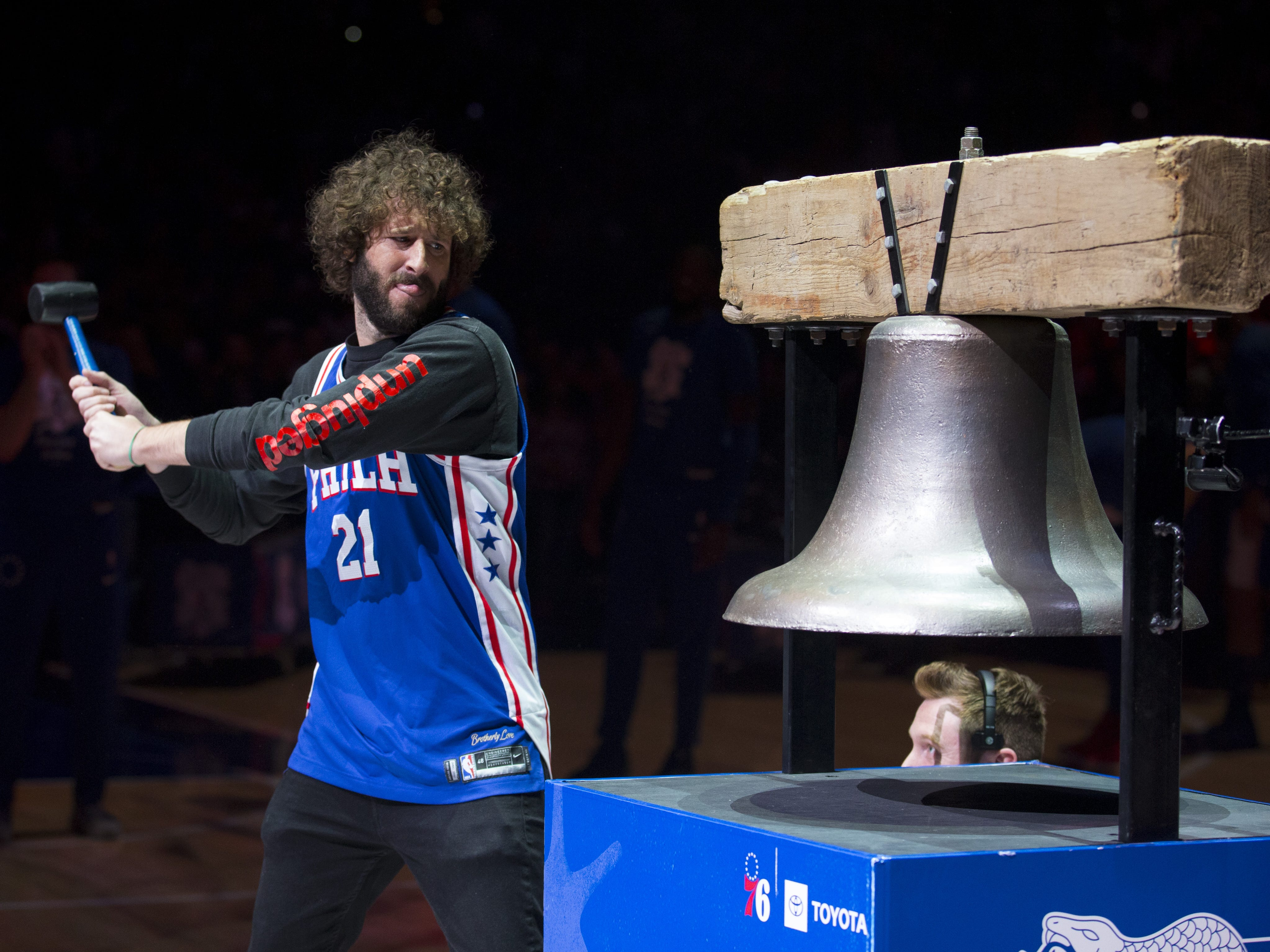 April 23: Rapper Lil Dicky rings the bell prior to Game 5 between the Nets and 76ers in Philadelphia.