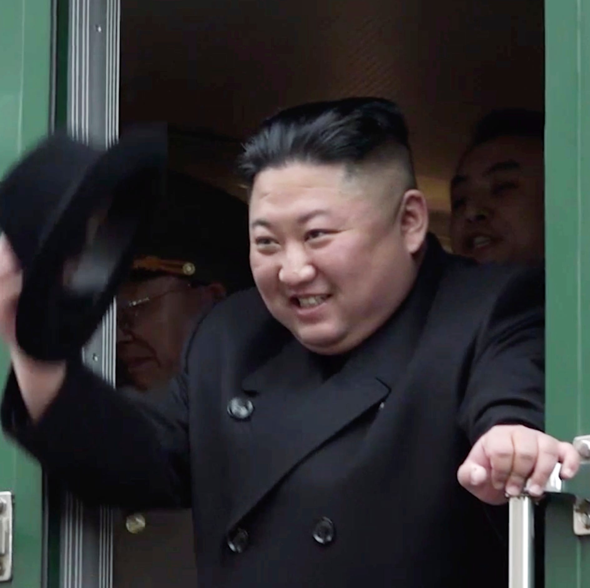 In this image from video released by Primorsky Regional Administration Press Service, North Korean leader Kim Jong Un waves from his train as he leaves Khasan train station in Primorye region, Russia, Wednesday, April 24, 2019. Kim arrived in Russia by train on Wednesday, a day before his much-anticipated summit with Russian President Vladimir Putin that comes amid deadlocked diplomacy on his nuclear program.