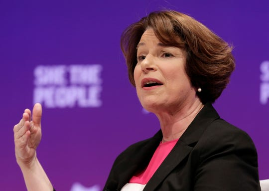 Presidential candidate Sen. Amy Klobuchar answers questions during a presidential forum held by She The People on the Texas State University campus Wednesday, April 24, 2019, in Houston. (AP Photo/Michael Wyke)
