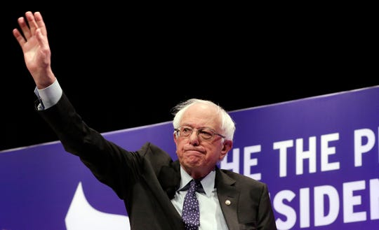 Democratic presidential candidate Sen. Bernie Sanders, I-Vt., waves as he attends a presidential forum held by She The People on the Texas State University campus Wednesday, April 24, 2019, in Houston. (AP Photo/Michael Wyke)