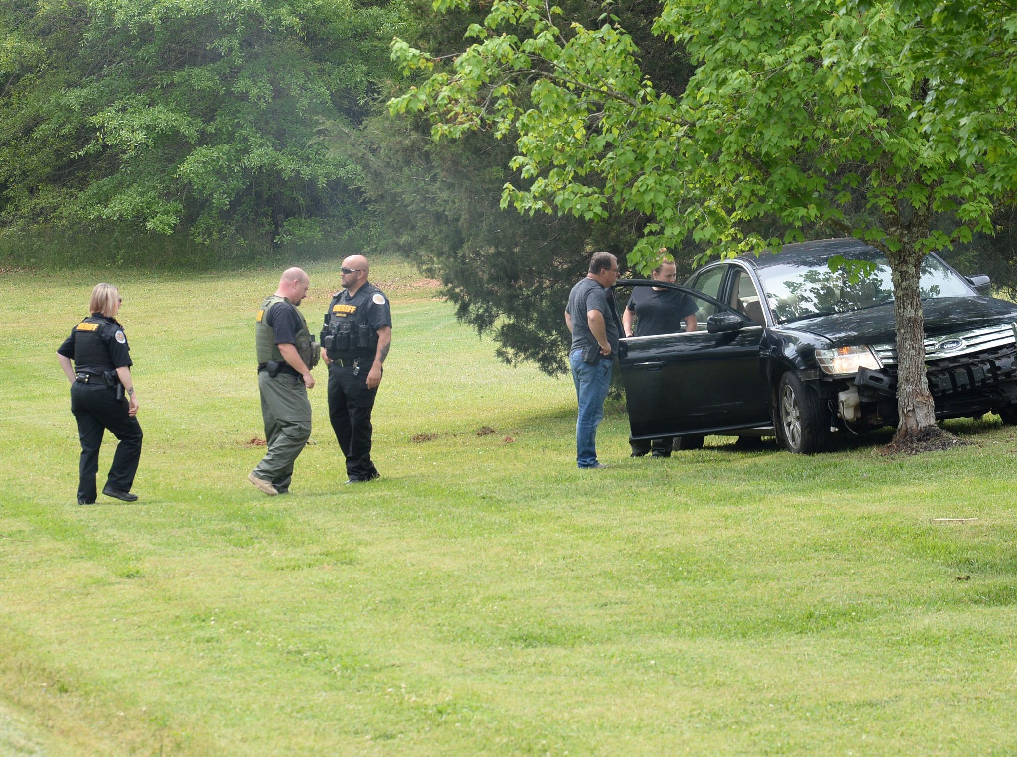 Anderson County Sheriff's Office deputies were involved in a foot chase of a suspect following a car chase Thursday, April 25, 2019, that ended at Wright School Road and SC 252 in Belton, where the suspect fled.