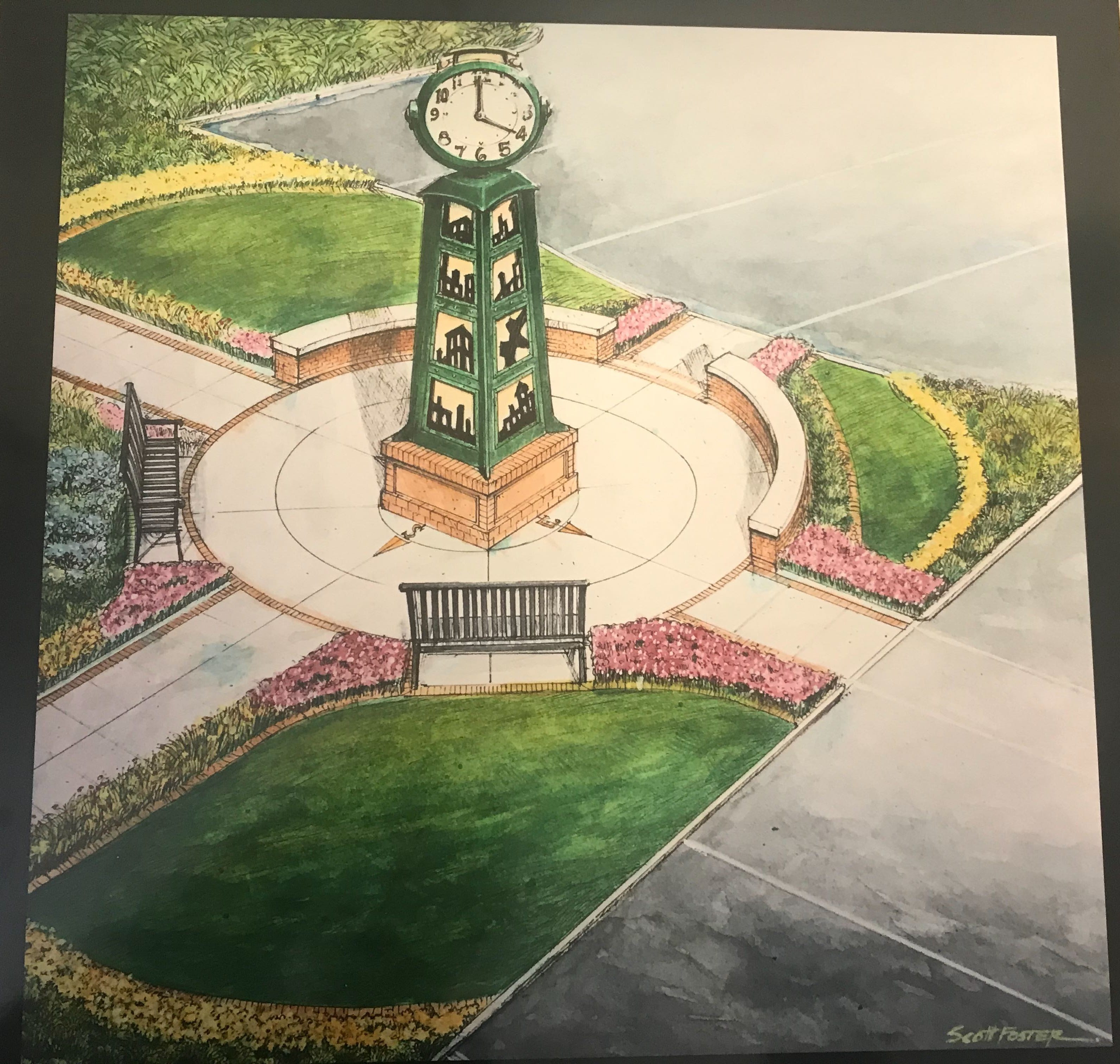 This is a rendering of what the pocket park near the Murray Avenue bridge will look like. The rendering and aspects of the park were designed by local artist Scott Foster.