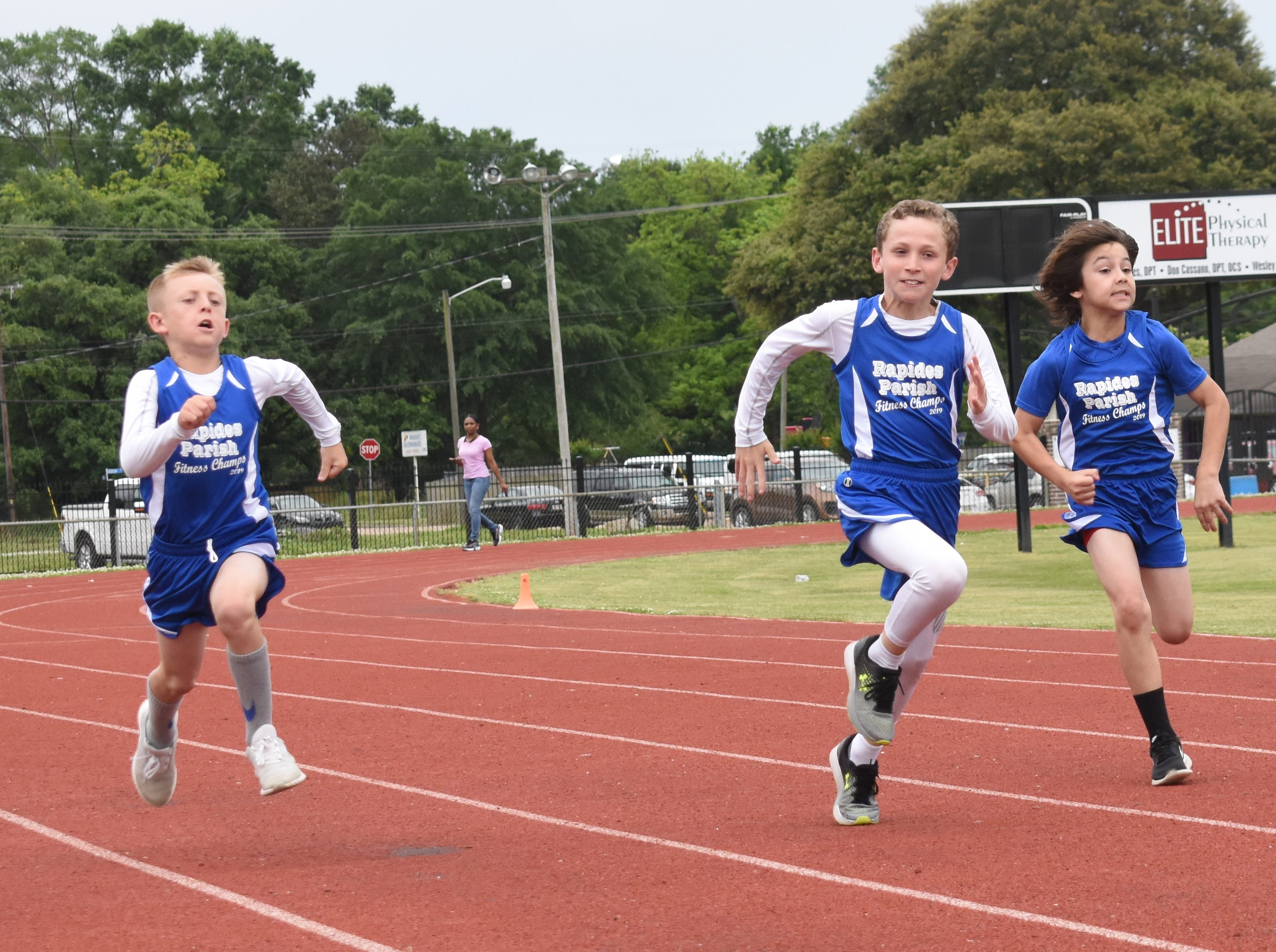Jaxon Ross (left) and Jacob Dean, both with Nachman Elementary School, and Bryce Warthen of Hayden R. Lawrence are part of the 2019 Rapides Parish Fitness Team. All will compete in the 2019 State Championship Fitness Meet to be held Saturday, April 27, 2019 at Alexandria Senior High School. The meet is part of the Governor's Council on Fitness and Sports. Students from throughout Louisiana will compete in seven events: 50-yard dash, sit and reach, pull-ups,  shuttle run, curl-ups (sit-ups), standing long jump, and the 600-yard run. For the past three years, the Rapides Parish Fitness Team has placed first at the meet. Dean was the highest scoring boy last year and won the title of 2018 Mr. Fitness for the State of Louisiana. The meet will be from 10 a.m. to 2 p.m.