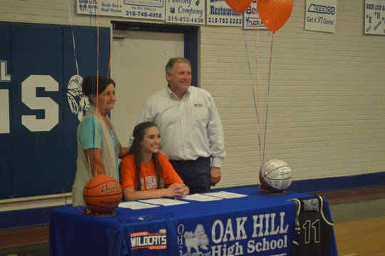 Oak Hill's Peyton Townley signed with Louisiana College Thursday.