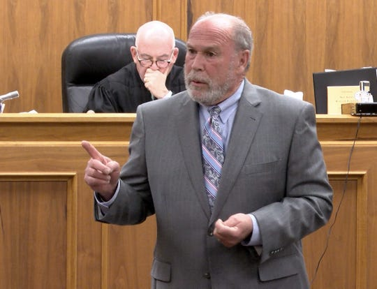 Dante Allen's attorney Paul Zager delivers his opening statement Wednesday, April 24, 2019, on the first day of his trial for the attempted murder of Asbury Park police officer Terrance McGhee in a shootout in which McGhee fired multiple rounds, wounding Allen in the leg and grazing an 8-year-old girl in the head.
