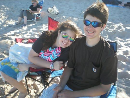 Two of the Bergmann kids enjoying the beach in 2008 at Harvey Cedars, Long Beach Island.