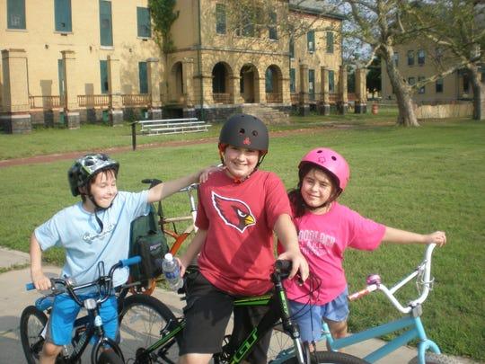 The Bergmann kids' first bike ride at Sandy Hook's Fort Hancock